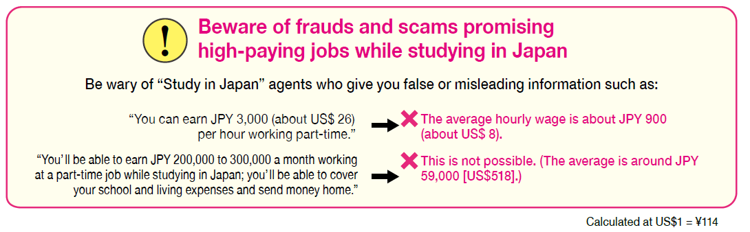 Beware of frauds and scams promising high-paying jobs while studying in Japan